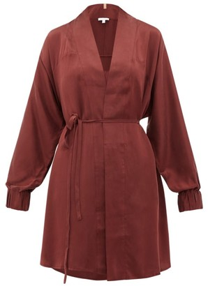 Lunya - Elasticated-cuff Belted Silk Robe - Burgundy