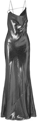 Cushnie Open-back Draped Silk-lame Gown