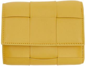 Bottega Veneta Yellow Mini Trifold Wallet