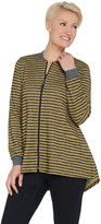 Logo By Lori Goldstein LOGO by Lori Goldstein Striped French Terry Zip Front Jacket