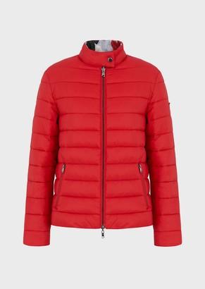 Emporio Armani Lightweight Nylon Reversible Jacket With Stylised Flower Print