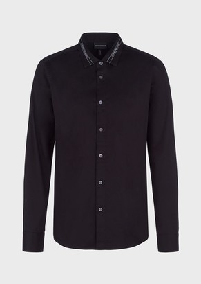 Emporio Armani Stretch Cotton Shirt With Logo Tape On The Collar