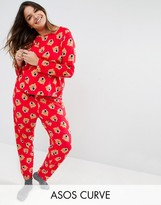 Asos Roaring Bear Print Long Sleeve Tee & Pajama Pant Set