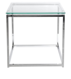 Euro Style Sandor Rectangular Side Table with Tempered Glass Top and Chrome Frame