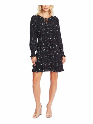 Unknown CECE Womens Black Tie Patterned Long Sleeve Keyhole Mini Trapeze Dress UK Size: L