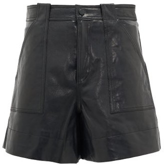 Ganni A-line Leather Shorts - Black