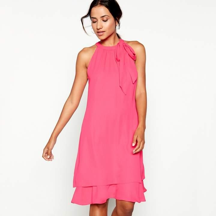 Debut - Bright Pink Tie Neck 'Elsa' Chiffon Knee Length Swing Dress