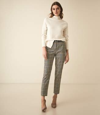 Reiss Joanne Check - Check Slim Fit Trousers in Yellow Check
