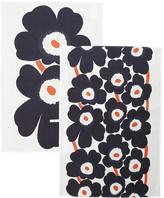 Marimekko Unikko Tea Towel - Pack of 2 - Grey/Coral