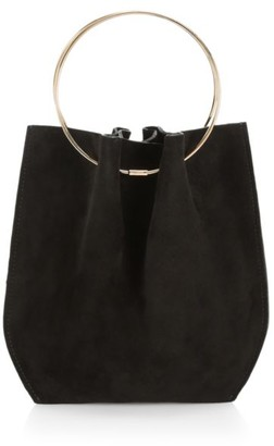 The Row Micro Flat Circle Suede Bucket Bag