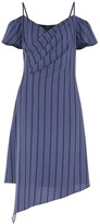 Paisie Striped Cold Shoulder Dress With Asymmetric Hem In Navy & Black
