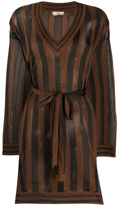 Fendi Striped Sheer Knit Dress