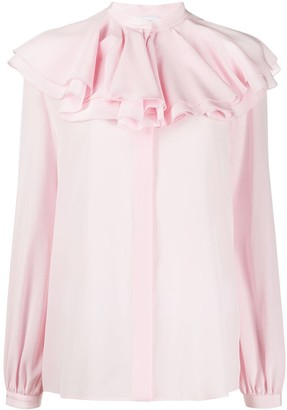 Giambattista Valli Ruffled Collar Silk Blouse