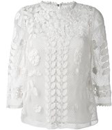 RED Valentino floral macrame top - women - Cotton/Polyester - 42