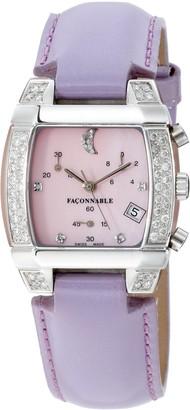 Façonnable Women's Watch Mezza Luna Diamonds Pink 170005002