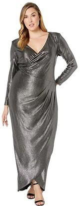 Adrianna Papell Plus Size Metallic Jersey Gown (Black/Gunmetal) Women's Dress