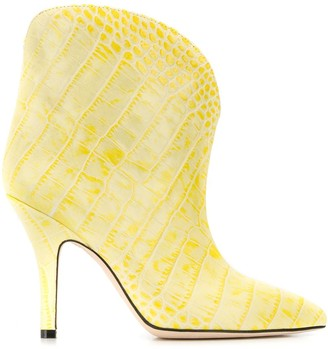 Paris Texas Crocodile Effect Ankle Boots