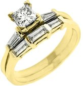 14k Yellow Gold 1.08 Carats Princess Baguette Diamond Engagement Ring Bridal Set