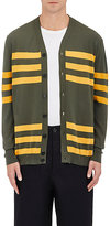Marni MEN'S STRIPED COTTON V-NECK CARDIGAN