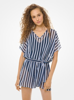 MICHAEL Michael Kors Striped Romper Cover-Up