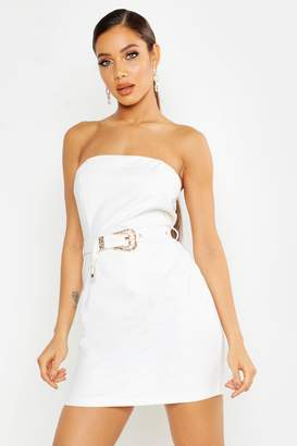 boohoo Croc Leather Look Belted Mini Dress