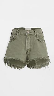 One Teaspoon Le Wolves Mid Length Denim Shorts