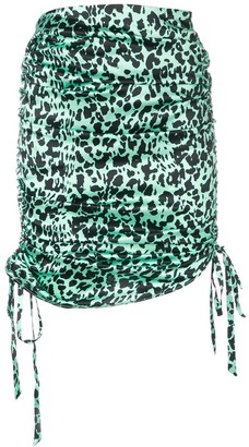Laneus Leopard Print Drawstring Skirt