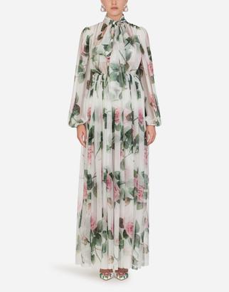 Dolce & Gabbana Long Tropical Rose Print Chiffon Dress