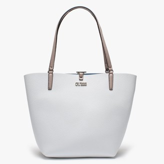 GUESS Alby Pebbled White Colour Block Toggle Tote Bag