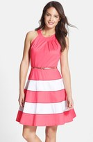 Eliza J Women's Stripe Sateen Fit & Flare Dress