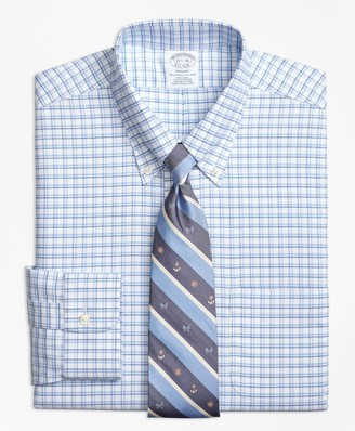 Brooks Brothers BrooksCool Regent Fitted Dress Shirt, Non-Iron Framed Shadow Check