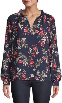 Lord & Taylor Moody Floral-Print Stretch Top