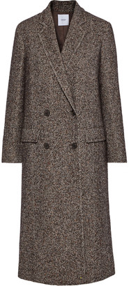 Agnona Double-breasted Herringbone Wool-blend Coat