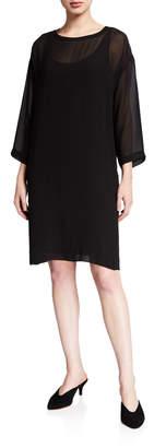 Eileen Fisher Ballet Neck 3/4-Sleeve Sheer Silk Dress