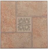 BEIGE Achim Nexus Terracotta Center Motif 20-piece Self Adhesive Vinyl Floor Tile Set