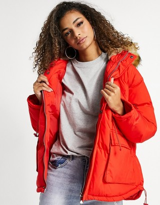 The Couture Club hooded coat with faux-fur trim in red