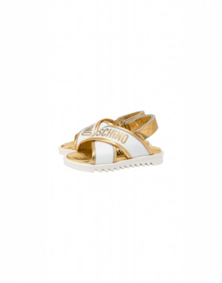 Moschino Crossed Sandals With Gold Logo Unisex White Size 27 It - (9.5k/10k Us)