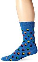 Happy Socks Men's 1 Pack Unisex Combed Cotton Crew-Blue Mini Diamond