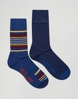 Levis Levi's Socks In 2 Pack Blanket Stripe Blue