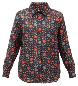 Muzungu Sisters - Fern Floral-print Silk-faille Shirt - Black Print
