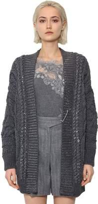 Ermanno Scervino Oversized Wool Blend Knit Cardigan