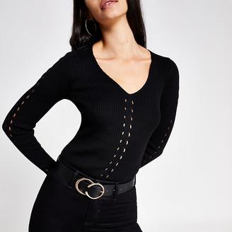 River Island Black cable knit V neck jumper