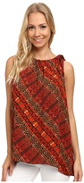 Vince Camuto Sleeveless Maasai Tribal Blouse w/ Tie Neck