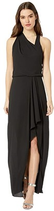 Halston Asymmetric Draped Gown (Black) Women's Dress