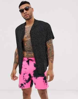 Asos Design DESIGN swim shorts in neon pink tie dye mid length