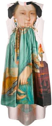 Simone Rocha painted portrait ruched dress