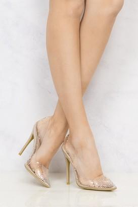 Miss Diva Cindy Perspex Diamante Court Shoe in Nude
