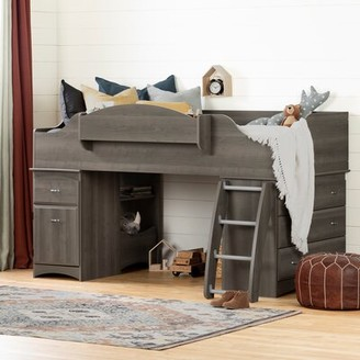 South Shore Imagine Twin Low Loft Bed with Drawers Bed Frame Color: Gray Maple