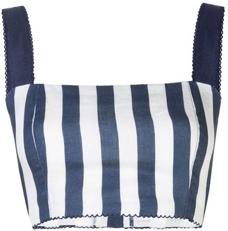Agua Bendita Cacao Striped Bustier Cropped Top