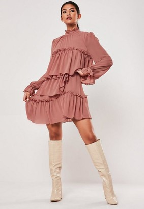 Missguided Terracotta High Neck Tiered Smock Dress